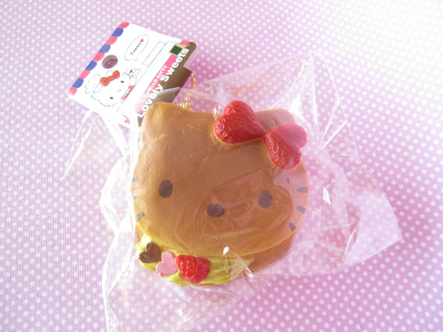 Photo1: Kawaii Cute Hello Kitty Lovely Sweets Squishy Keychain Charm Sanrio *Pancake Lemon Cream