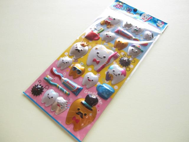 Photo1: Kawaii Cute メガ ぷっくり Sticker Sheet Mind Wave *Enjoy Clean Teeth (76137)