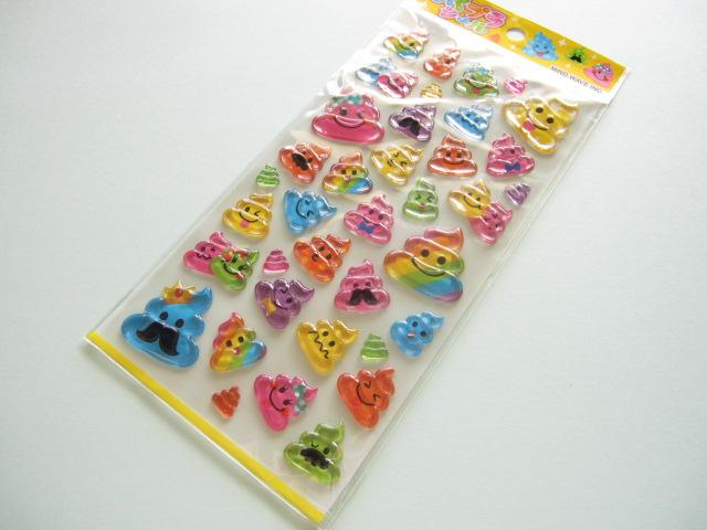 Photo1: Kawaii Cute Candy Sticker Sheet Mind Wave *Poo (75539)