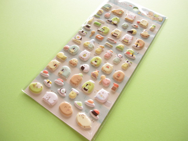 Photo1: Kawaii Cute Puffy Sticker Sheet San-x *Sumikkogurashi おすしの会 (SE27901 )