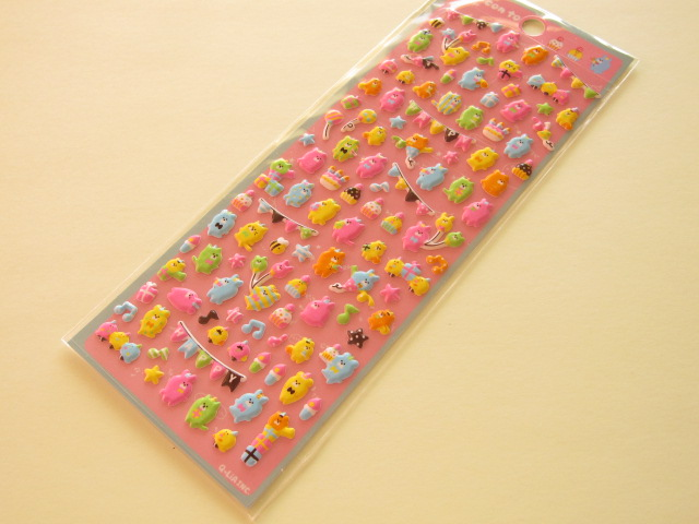 Photo1: Kawaii Cute Puffy cho-con to Sticker Sheet Q-LiA *Party  (01041)
