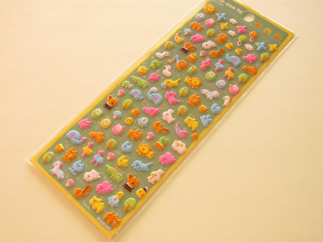 Photo1: Kawaii Cute Puffy cho-con to Sticker Sheet Q-LiA *Animal  (01043)