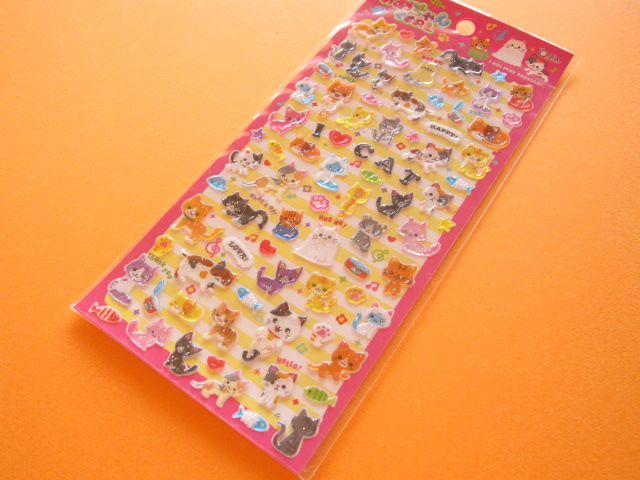 Photo1: Kawaii Cute Candy Sticker Sheet Q-LiA *アイラブにゃんこ (01079)