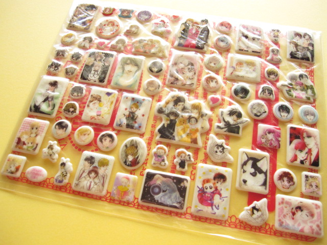 Photo1: Hana to Yume Shoujo/Shojo Manga All Star Puffy Stickers Sheet Furoku
