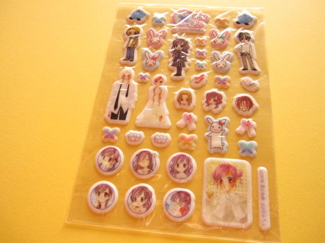 Photo1: Hana to Yume Shoujo/Shojo Manga Velvet Blue Rose Puffy Stickers Sheet Furoku