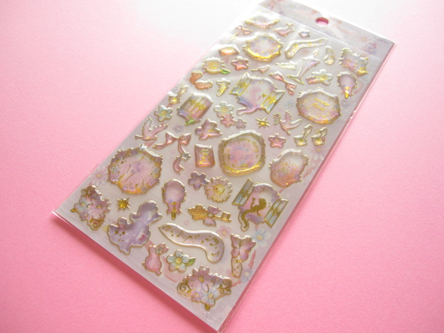 Photo1: Kawaii Cute Twinkle Aqua Sticker Sheet Q-LiA *wonder floral (01144)