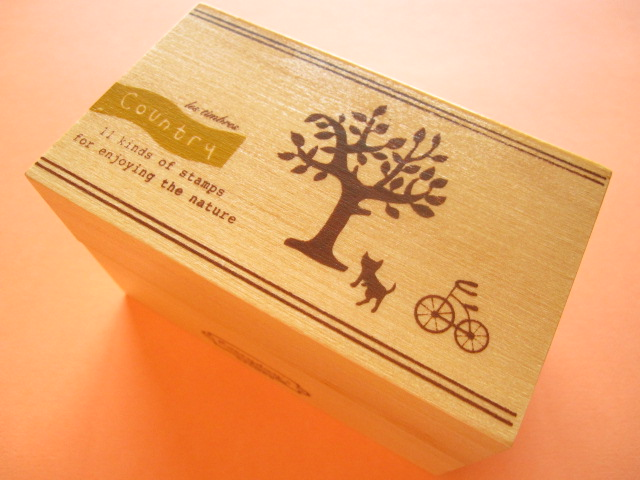 Photo1: 11 pcs Mini Rubber Stamps Collection in Wooden Box Set *Country