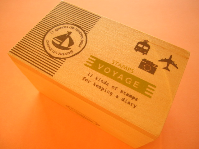 Photo1: 11 pcs Mini Rubber Stamps Collection in Wooden Box Set *Voyage