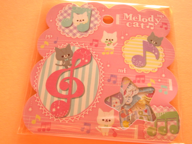 Photo1: Kawaii Cute Sticker Flakes Sack Q-LiA *Melody Cat (01189)