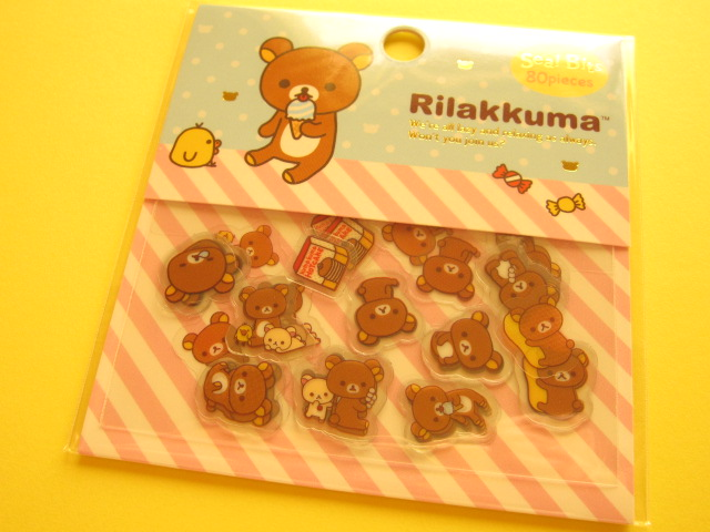 Photo1: Seal Bits Kawaii Cute Sticker Flakes Sack San-x *Rilakkuma (SE28801)
