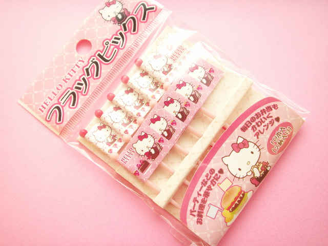 Photo1: Kawaii Cute Sanrio Hello Kitty Food Picks Toppers Japan Exclusive