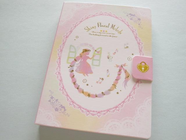 Photo1: Kawaii Cute Large Memo Pad Q-LiA *Shiny Floral Melody (00549)