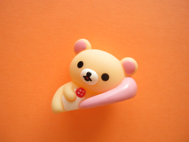 Photo1: Kawaii Cute Rlakkuma Mini Figure Doll San-x *Korilakkuma Pink Cushion
