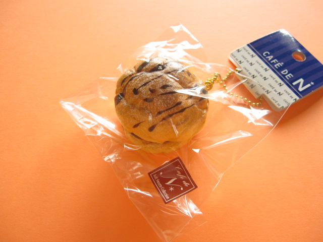 Photo1: Cafe de N Squishy Keychain Charm Nic *Cream Puff W- Chocolate (CDN04-3)