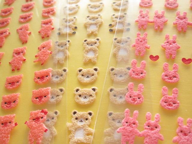 Photo1: 3 pcs Cute Felted Stickers Sheets Set Gakken *Bear, Pig & Rabbit