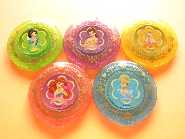 Photo1: 5 pcs Disney Cute Girls Compact Mirror with Nail Art Stickers Set