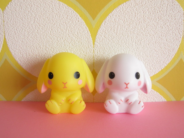 Photo1: 2 pcs Kawaiil Cute Poteusa Loppy Mini Figure Dolls Set *White & Yellow
