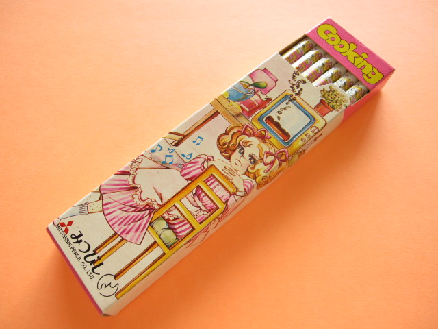 Photo1: 1 Dozen (12 pcs) Vintage Wooden Pencil l Illustration Retro *Cooking
