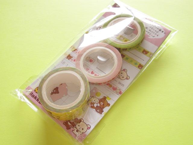 Photo1: 3 pcs Kawaii Cute Mini Character Tape/Deco Tape Sticker Set San-x *Rilakkuma (SE32801)