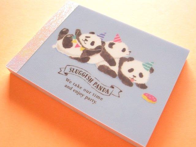 Photo1: Kawaii Cute Mini Memo Pad Mind Wave *Sluggish Panda (54424)