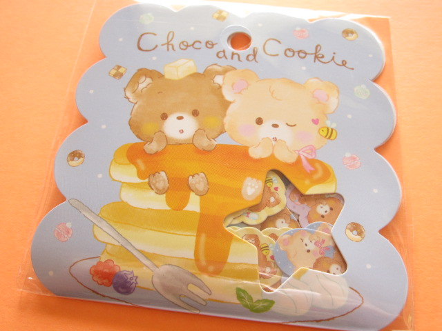 Photo1: Kawaii Cute Sticker Flakes Sack Q-LiA *Choco and Cookie (21120)
