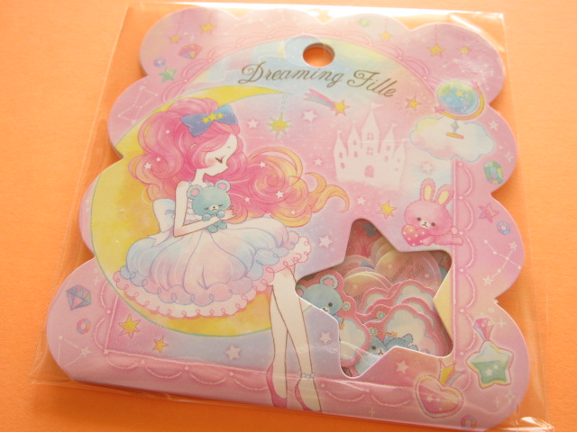 Photo1: Kawaii Cute Sticker Flakes Sack Q-LiA *Dreaming Fille (21122)