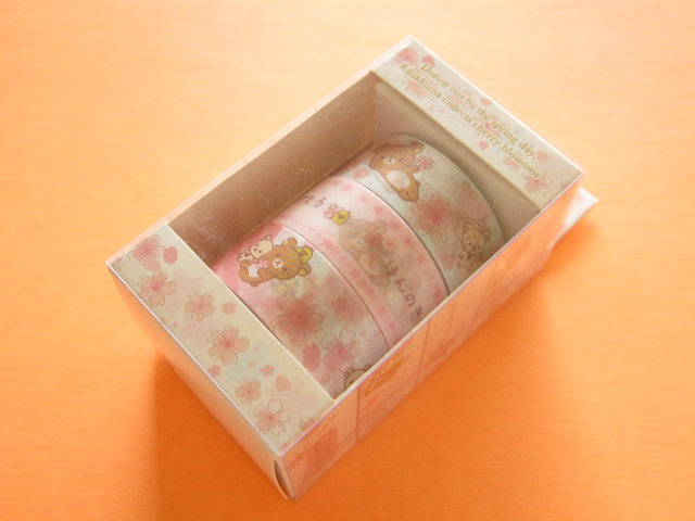 Photo1: 3 pcs Kawaii Cute Mini Character Tape/Deco Tape Sticker Set San-x *Sakura Rilakkuma (SE34002)