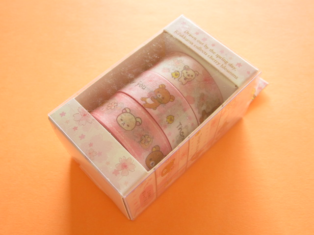 Photo1: 3 pcs Kawaii Cute Mini Character Tape/Deco Tape Sticker Set San-x *Sakura Rilakkuma (SE34001)