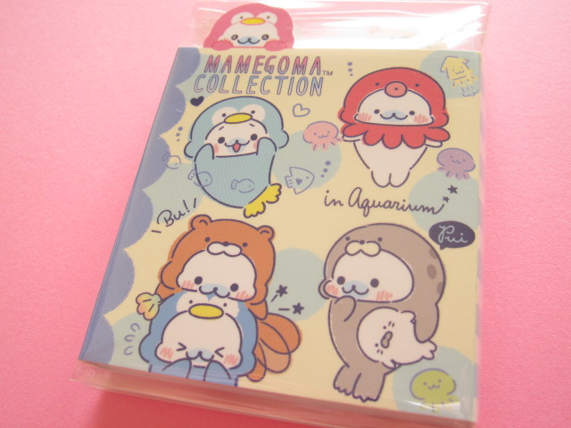Photo1: Kawaii Cute Patapata Mini Memo Pad San-x Mamegoma *Aquarium (MW37401)