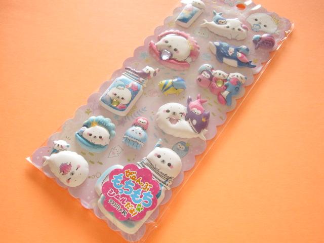 Photo1: Kawaii Cute Puffy Stickers Sheet Crux *Shombori Azarashi (05771)