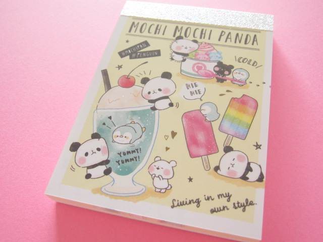 Photo1: Kawaii Cute Mini Memo Pad Mochi Mochi Panda Kamio Japan *もちぱんとペンギン (07396)