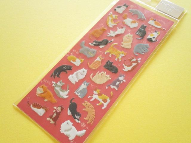 Photo1:  Kawaii Cute Pukumori Stickers Sheet  Mind Wave *まったりニャンコ (79221)