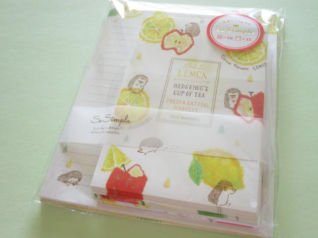 Photo1: Kawaii Cute Regular Letter Set Crux *Hedgehog's Cup of Tea (08894)