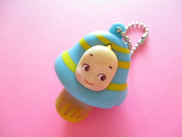 Photo1: Kawaii Cute Kinoko Mushroom Kewpie Mini Keychain Charm *Blue