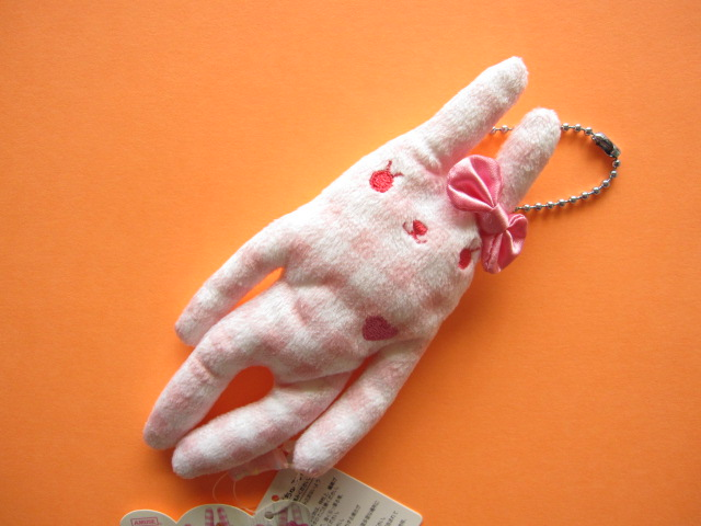 Photo1: Kawaii Cute FLAN Plush Mascot Keychain Charm *Light Pink & White