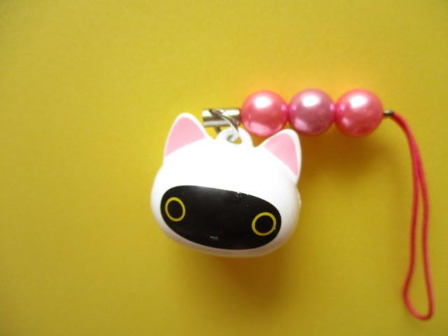 Photo1: Kawaii Cute  Kutusita Nyanko Strap Bell Charm San-x
