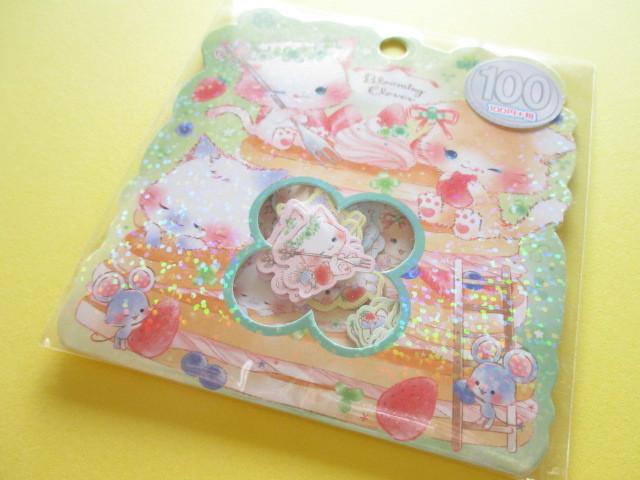 Photo1: Kawaii Cute Sticker Flakes Sack Kamio Japan *Blooming Clover (09203)