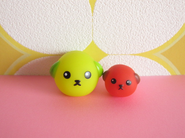 Photo1: Kawaii Cute Mameshiba Mini Figure Mascot Dolls Set *Greenb & Red Soybean