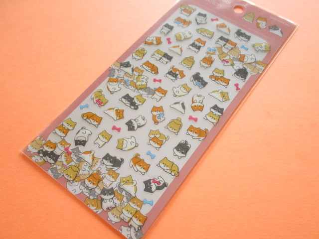 Photo1: Kawaii Cute Animal Stickers Sheet Mind Wave *しばけん (79423)