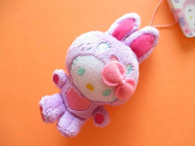 Photo1: Kawaii Cute Hello Kitty Small Plush Doll Strap Charms Sanrio *Colorful Bunny Purple