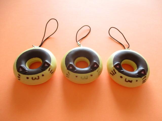 Photo1: NEKODO Neko Doughnut Squishy Strap Charms Set *Chocolate