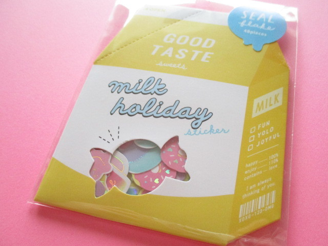 Photo1: Kawaii Cute Milk Holiday Stickers Sack Crux *Sweets (05843)