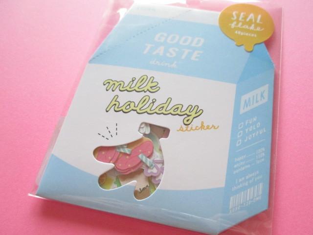 Photo1: Kawaii Cute Milk Holiday Stickers Sack Crux *Drink (05840)