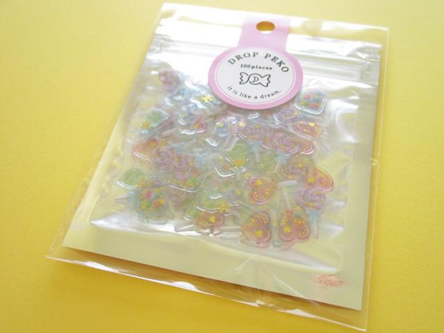 Photo1: Kawaii Cute Drop Peko Sticker Flakes Sack Crux *Pastel Lollipop (05864)
