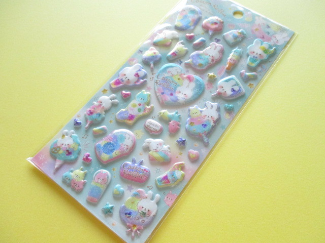 Photo1: Kawaii Cute Holokira Stickers Sheet Q-LiA *Cotton Rabbit (31122)