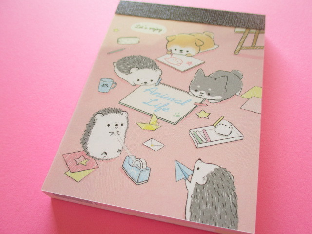 Photo1: Kawaii Cute Mini Memo Pad Kamio Japan *Animal Life (21054)