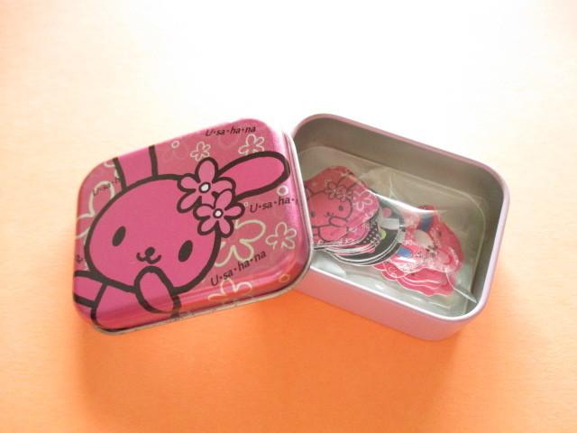 Photo1: Kawaii Cute Stickers Flakes in Tin Case Sanrio  *U・sa・ha・na  #Pink