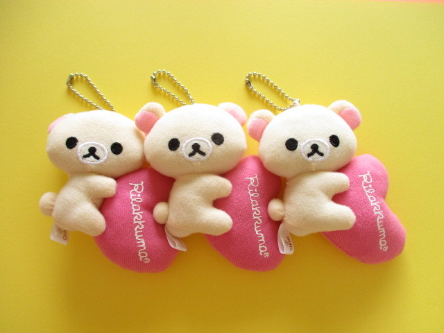 Photo1: 3 pcs Kawaii Cute Korilakkuma Keychain Plush Dolls Set San-x *04