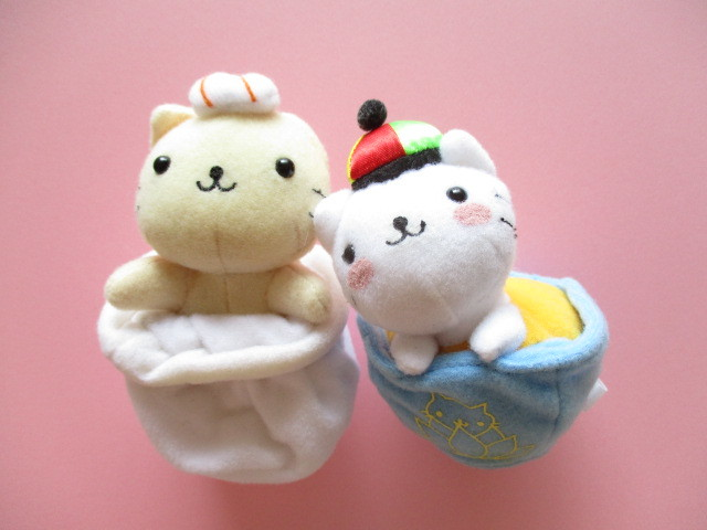 Photo1: 2 pcs Kawaii Cute Nyan Nyan Nyanko Plush Dolls Keychains Set San-x *Jasmine Tea & Shrimp Dumplings