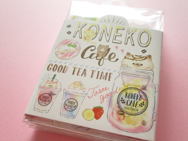 Photo1: Kawaii Cute Patapata Mini Memo Pad Koneko Cafe Crux *Logo (55453)